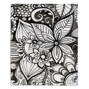 Artistic Sherpa Pile Blankets | Robin Mead - Flower Black White | Close Up Floral Pattern Nature