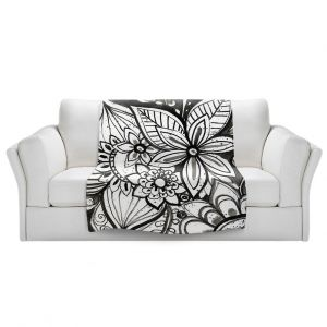 Artistic Sherpa Pile Blankets   Robin Mead - Flower Black White   Close Up Floral Pattern Nature