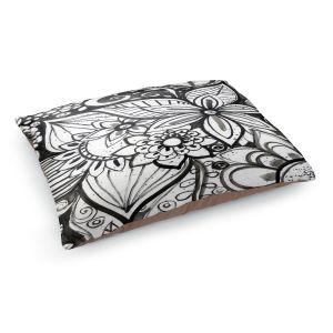 Decorative Dog Pet Beds | Robin Mead - Flower Black White | Close Up Floral Pattern Nature