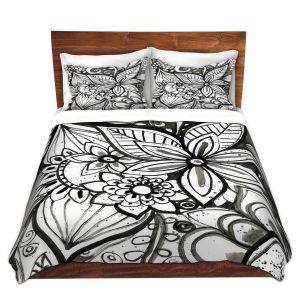 Artistic Duvet Covers and Shams Bedding | Robin Mead - Flower Black White | Close Up Floral Pattern Nature