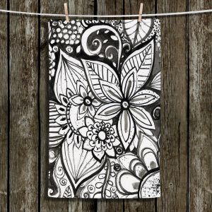 Unique Hanging Tea Towels | Robin Mead - Flower Black White | Close Up Floral Pattern Nature