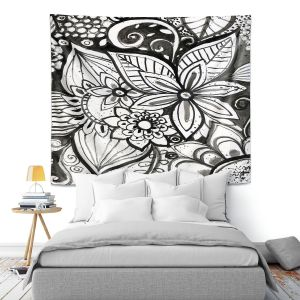 Artistic Wall Tapestry   Robin Mead - Flower Black White   Close Up Floral Pattern Nature