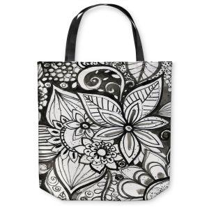 Unique Shoulder Bag Tote Bags | Robin Mead - Flower Black White | Close Up Floral Pattern Nature