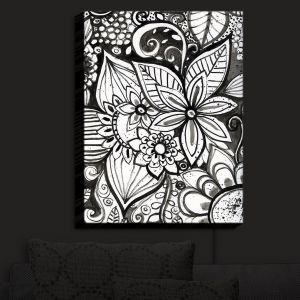 Nightlight Sconce Canvas Light | Robin Mead - Flower Black White