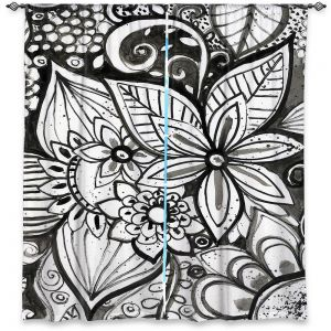 Decorative Window Treatments   Robin Mead - Flower Black White   Close Up Floral Pattern Nature