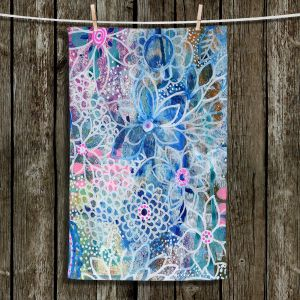 Unique Hanging Tea Towels | Robin Mead - Freesia | Floral Pattern Flowers Nature