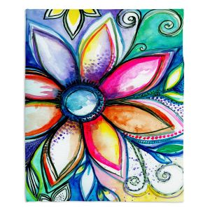 Decorative Fleece Throw Blankets | Robin Mead - From Within | Floral Flower Colorful