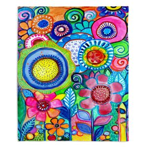 Artistic Sherpa Pile Blankets | Robin Mead - Garden of Colors | Floral Flower Colorful