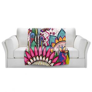 Artistic Sherpa Pile Blankets | Robin Mead - Garden Party | Floral Pattern Flowers Nature