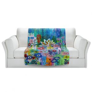Artistic Sherpa Pile Blankets | Robin Mead - Glorious | Abstract colors flowers nature