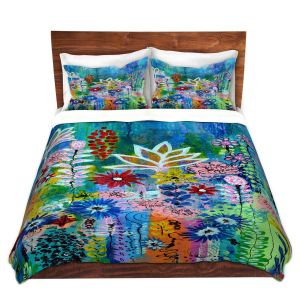 Artistic Duvet Covers and Shams Bedding | Robin Mead - Glorious | Abstract colors flowers nature