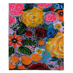 Artistic Sherpa Pile Blankets | Robin Mead - Hybrid | Floral Pattern Flowers Nature
