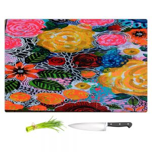 Artistic Kitchen Bar Cutting Boards | Robin Mead - Hybrid | Floral Pattern Flowers Nature
