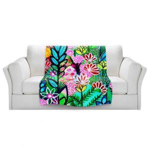 Artistic Sherpa Pile Blankets | Robin Mead - Inglenook | plant flower pattern