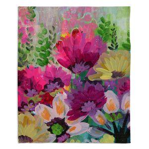 Artistic Sherpa Pile Blankets | Robin Mead - Jazmin 1 | flower plant pattern