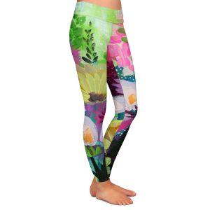 Casual Comfortable Leggings | Robin Mead - Jazmin 2 | flower plant pattern