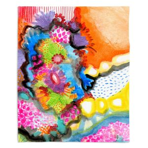 Artistic Sherpa Pile Blankets | Robin Mead - Jest | Floral Flower Colorful