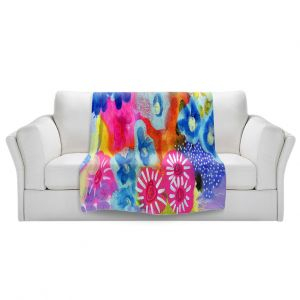 Artistic Sherpa Pile Blankets   Robin Mead - Joni   Abstract colors flowers nature