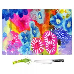 Artistic Kitchen Bar Cutting Boards | Robin Mead - Joni | Abstract colors flowers nature
