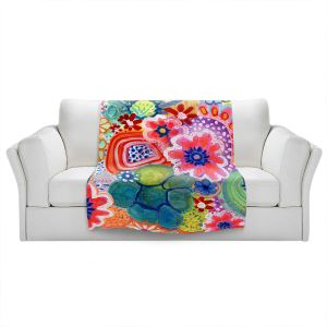 Artistic Sherpa Pile Blankets | Robin Mead - Jovial | Floral Flower Colorful