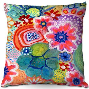 Decorative Outdoor Patio Pillow Cushion | Robin Mead - Jovial | Floral Flower Colorful
