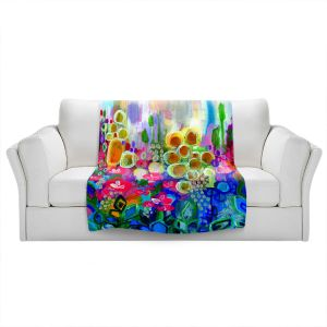 Artistic Sherpa Pile Blankets | Robin Mead - Joy and Wonder | Nature Flowers