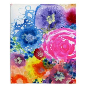 Decorative Fleece Throw Blankets | Robin Mead - Julia | Floral Pattern Flowers Nature