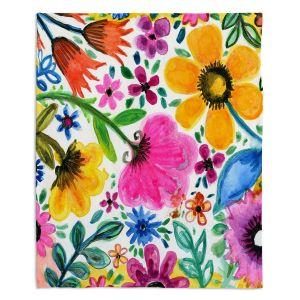 Decorative Fleece Throw Blankets | Robin Mead - Morning Sun | floral pattern