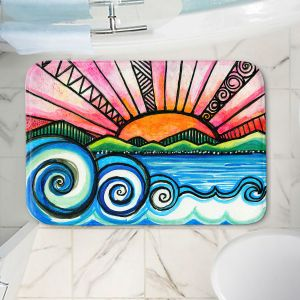 Decorative Bathroom Mats   Robin Mead - Oasis   Sunset Sunrise Mountains flowers