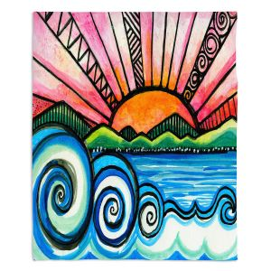 Artistic Sherpa Pile Blankets | Robin Mead - Oasis | Sunset Sunrise Mountains flowers