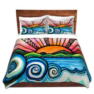 Artistic Duvet Covers and Shams Bedding | Robin Mead - Oasis | Sunset Sunrise Mountains flowers