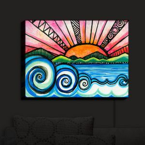 Nightlight Sconce Canvas Light | Robin Mead - Oasis | Sunset Sunrise Mountains flowers