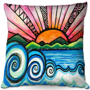 Throw Pillows Decorative Artistic | Robin Mead - Oasis | Sunset Sunrise Mountains flowers