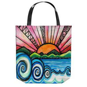 Unique Shoulder Bag Tote Bags | Robin Mead - Oasis | Sunset Sunrise Mountains flowers