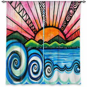 Decorative Window Treatments | Robin Mead - Oasis | Sunset Sunrise Mountains flowers