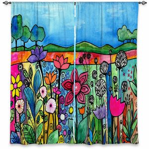 Decorative Window Treatments | Robin Mead - Our Town | Floral Flowers Mountains