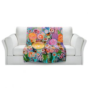 Artistic Sherpa Pile Blankets | Robin Mead - Passion | Abstract colors flowers nature