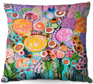 Decorative Outdoor Patio Pillow Cushion | Robin Mead - Passion | Abstract colors flowers nature