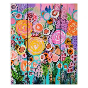 Decorative Wood Plank Wall Art   Robin Mead - Passion   Abstract colors flowers nature