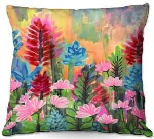 Decorative Outdoor Patio Pillow Cushion   Robin Mead - Petrichor   flower field nature painterly