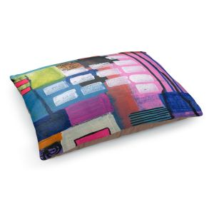 Decorative Dog Pet Beds | Robin Mead - Pink Houses 1 | Abstract Square Shapes