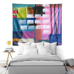 Artistic Wall Tapestry | Robin Mead - Pink Houses 1 | Abstract Square Shapes