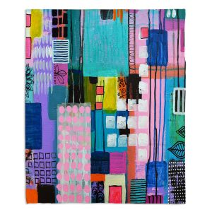 Decorative Fleece Throw Blankets | Robin Mead - Pink Houses 2 | Abstract Square Shapes