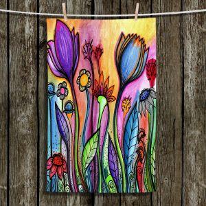 Unique Bathroom Towels   Robin Mead - Rainbow Flowers