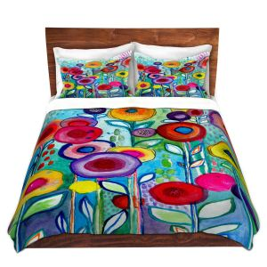 Artistic Duvet Covers and Shams Bedding | Robin Mead - Rendevous | Floral Flower Colorful