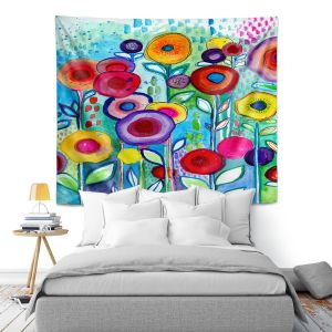 Artistic Wall Tapestry | Robin Mead - Rendevous | Floral Flower Colorful