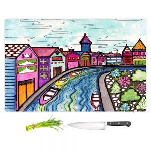 Artistic Kitchen Bar Cutting Boards | Robin Mead - Rivers Bend | city scape town stream canal