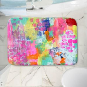 Decorative Bathroom Mats | Robin Mead - Rose Colored Glasses | abstract pattern brushstrokes paint