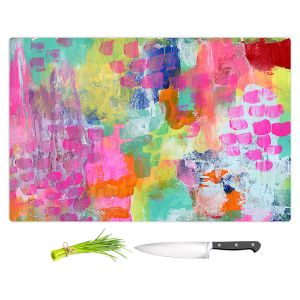Artistic Kitchen Bar Cutting Boards | Robin Mead - Rose Colored Glasses | abstract pattern brushstrokes paint
