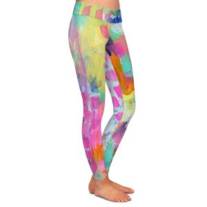 Casual Comfortable Leggings | Robin Mead - Rose Colored Glasses | abstract pattern brushstrokes paint